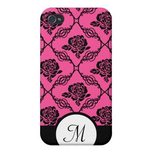 Pink and Black Lacy Floral Monogram iPhone 4/4S Covers