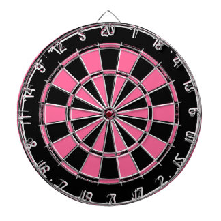 Pink and black ladies dartboard