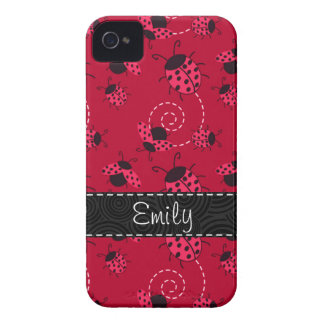 Pink and Black Ladybug Pattern iPhone 4 Case-Mate Case