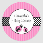 Pink and Black Ladybug Striped Dots Baby Shower Round Sticker