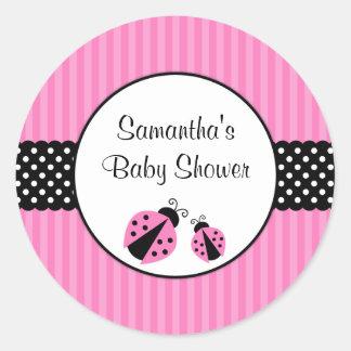 Pink and Black Ladybug Striped Dots Baby Shower Round Sticker