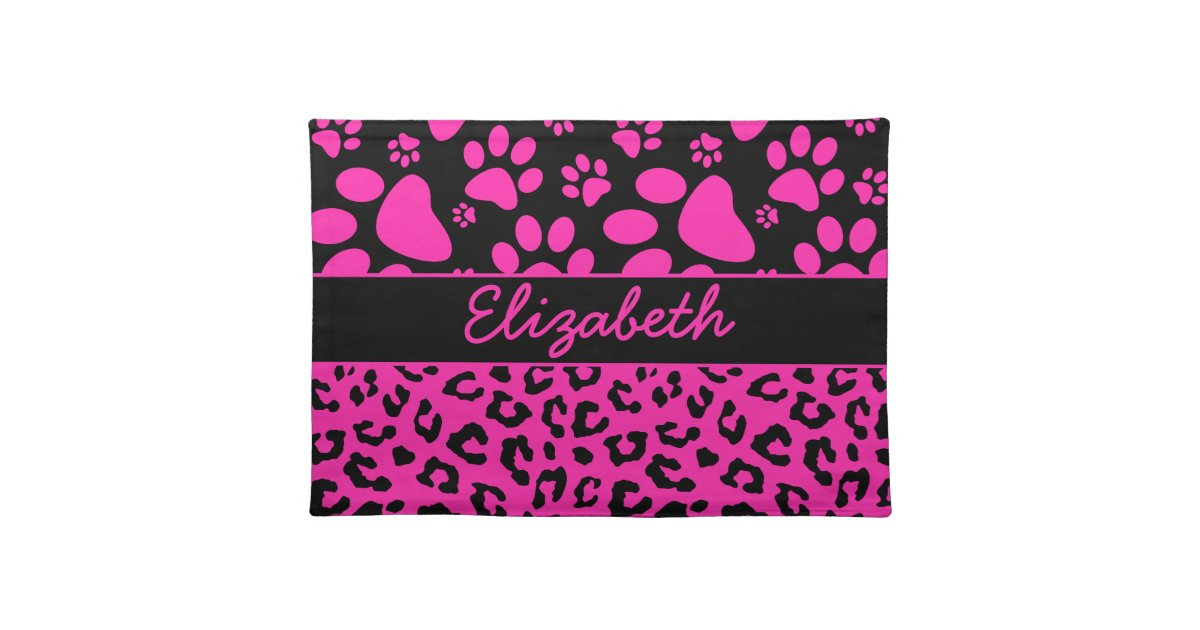 Pink And Black Leopard Print And Paws Personalised Place