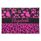 Pink and Black Leopard Print and Paws Personalised Placemat
