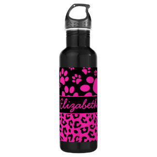 Pink and Black Leopard Print and Paws Personalized 710 Ml Water Bottle