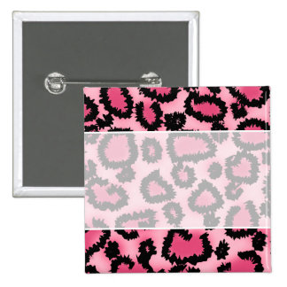 Pink and Black Leopard Print Pattern. 15 Cm Square Badge