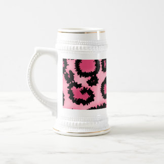 Pink and Black Leopard Print Pattern. Beer Stein