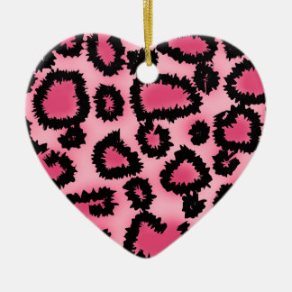 Pink and Black Leopard Print Pattern. Christmas Ornament