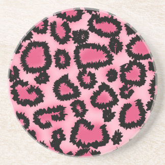 Pink and Black Leopard Print Pattern. Coaster