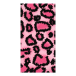 Pink and Black Leopard Print Pattern. Customized Photo Card
