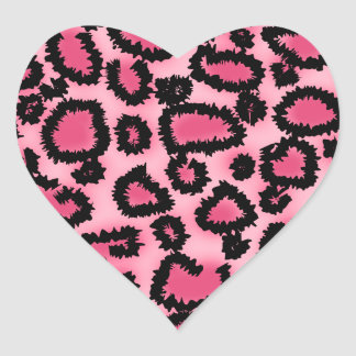 Pink and Black Leopard Print Pattern. Heart Sticker