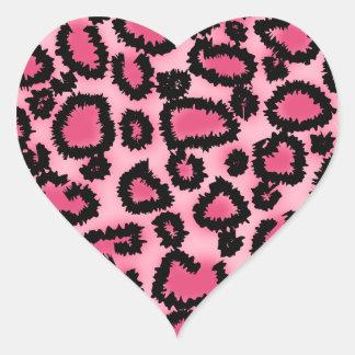 Pink and Black Leopard Print Pattern. Heart Sticker