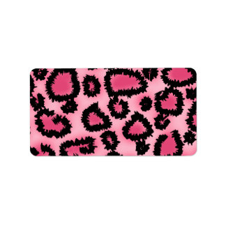 Pink and Black Leopard Print Pattern. Label