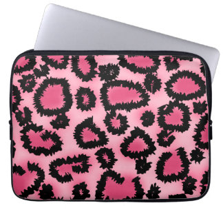 Pink and Black Leopard Print Pattern. Laptop Computer Sleeves
