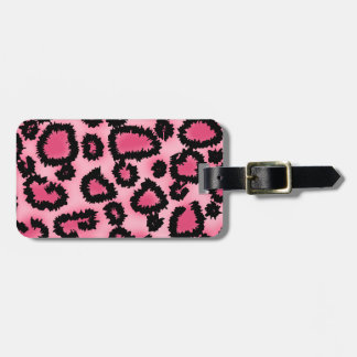 Pink and Black Leopard Print Pattern. Luggage Tag