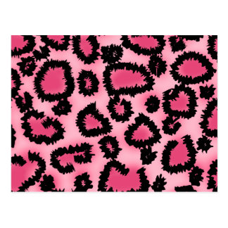 Pink and Black Leopard Print Pattern Postcards
