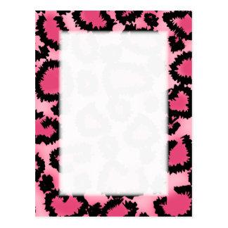 Pink and Black Leopard Print Pattern. Postcard