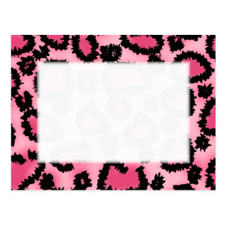 Pink and Black Leopard Print Pattern Post Card