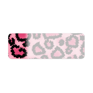 Pink and Black Leopard Print Pattern. Return Address Label