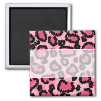 Pink and Black Leopard Print Pattern. Square Magnet