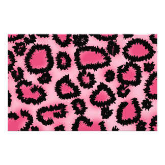 Pink and Black Leopard Print Pattern. Stationery