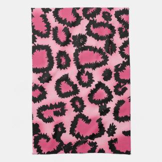 Pink and Black Leopard Print Pattern. Tea Towel