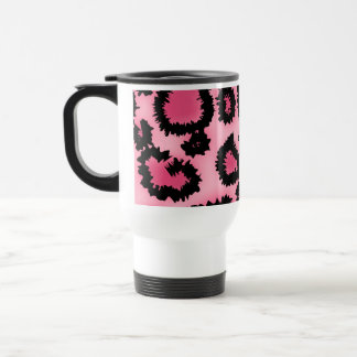 Pink and Black Leopard Print Pattern. Travel Mug