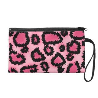 Pink and Black Leopard Print Pattern. Wristlet