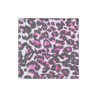 Pink and Black Leopard Spots Stone Magnet