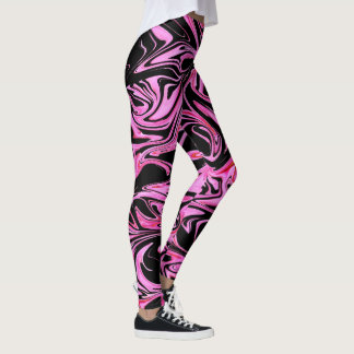 Pink And Black Liquefied Marble Pattern, Leggings