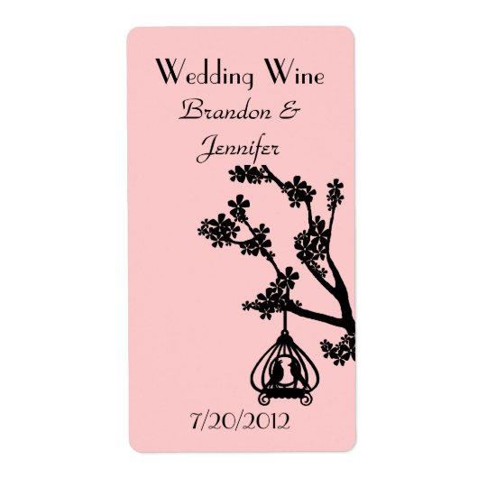 Pink and Black Love Birds Wedding Mini Wine Labels