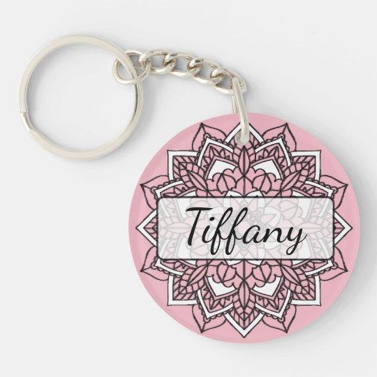 Pink and Black Mandala Key chain