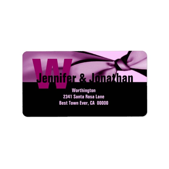 Pink and black Modern Bow Monogram Label