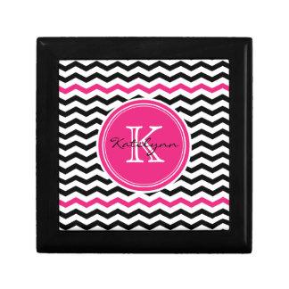 Pink and Black Modern Chevron Custom Monogram Gift Box