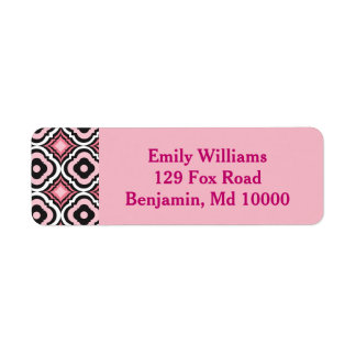 Pink and Black Modern Geometric Return Address Label