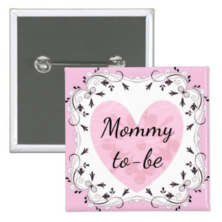 """Pink and Black """"Mom to be"""" Baby Shower Button"""