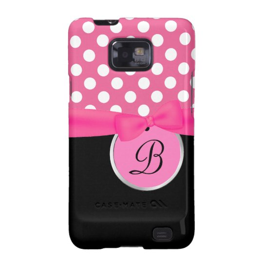Pink and Black Monogram Samsung Galaxy Phone Case