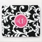 Pink and Black Monogrammed Damask Mouse Mat