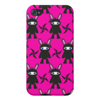 Pink and Black Ninja Bunny Pattern iPhone 4/4S Case