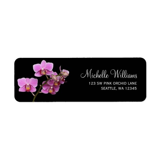 Pink and Black Orchid Return Address Label