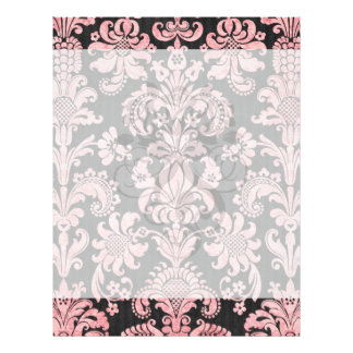 pink and black ornate fleur chic damask personalized flyer
