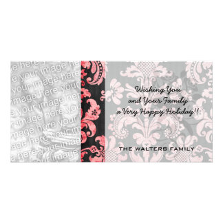 pink and black ornate fleur chic damask photo card template