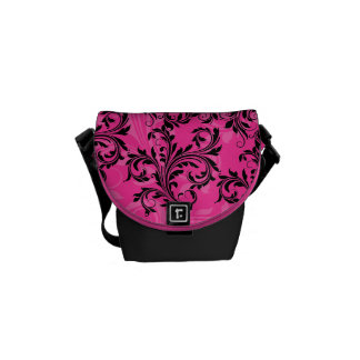 Pink and Black Ornate Scrolls Mini Messenger Bag