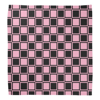 Pink and Black Outlined Squares Bandana