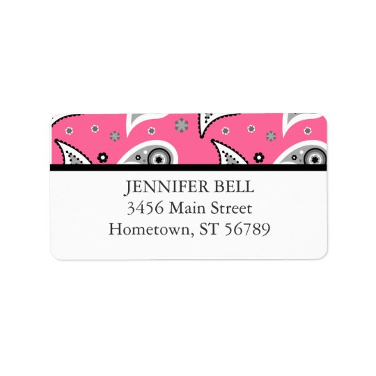 Pink and Black Paisley Address Label