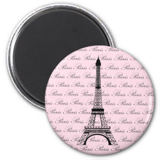 Pink and Black Paris Eiffel Tower 6 Cm Round Magnet