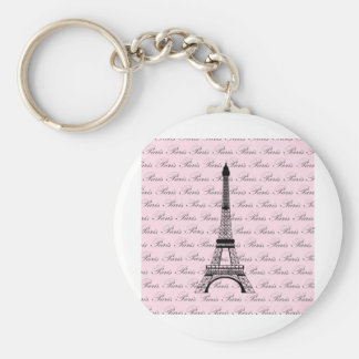 Pink and Black Paris Eiffel Tower Basic Round Button Key Ring