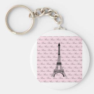 Pink and Black Paris Eiffel Tower Key Chain