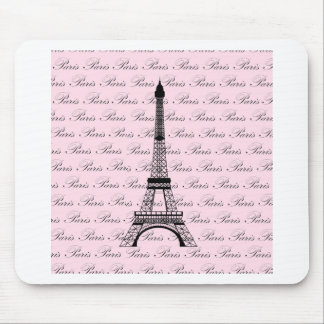 Pink and Black Paris Eiffel Tower Mouse Mat