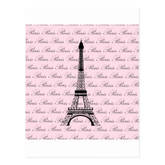 Pink and Black Paris Eiffel Tower Postcards