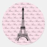 Pink and Black Paris Eiffel Tower Round Sticker